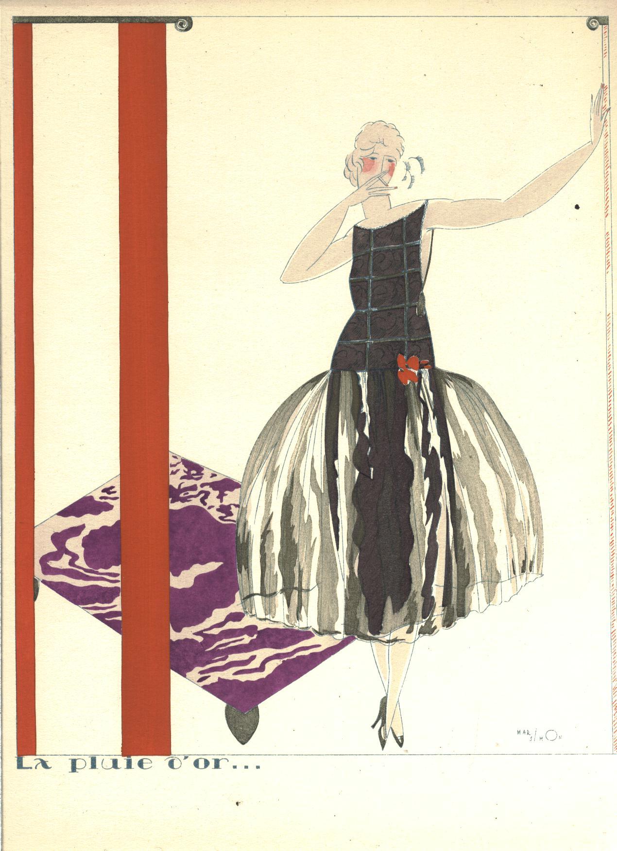 1920 art deco mario simon pochoir print rare in drawings for Pochoir deco