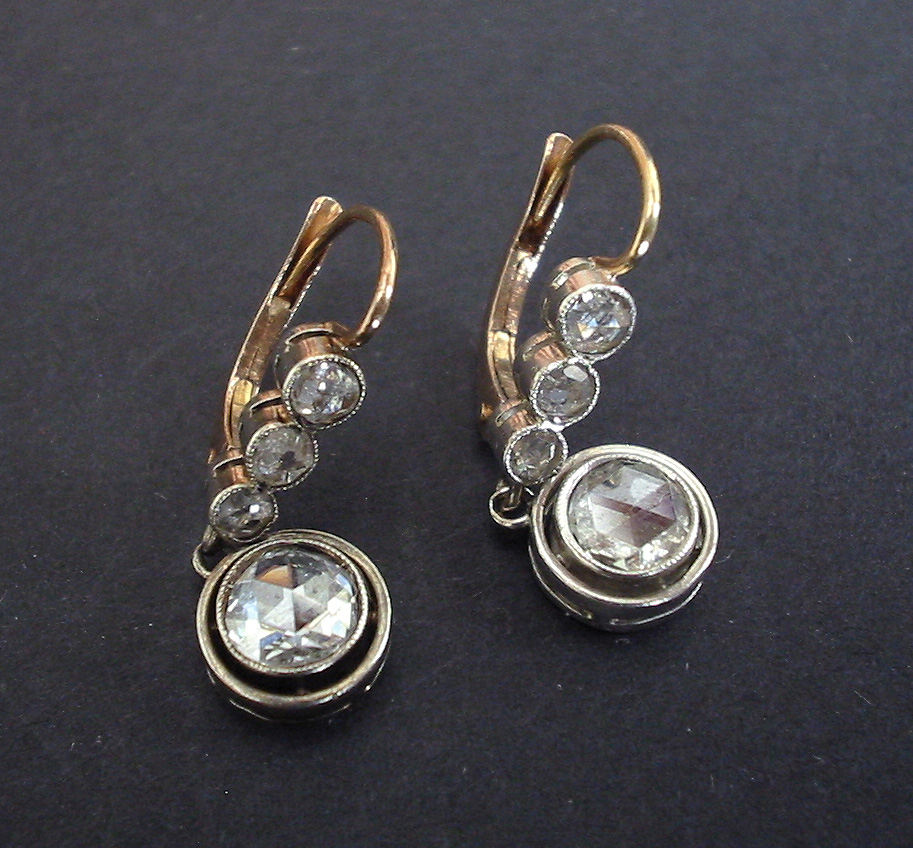 Antique Russian Diamond Earrings 1ct Gold