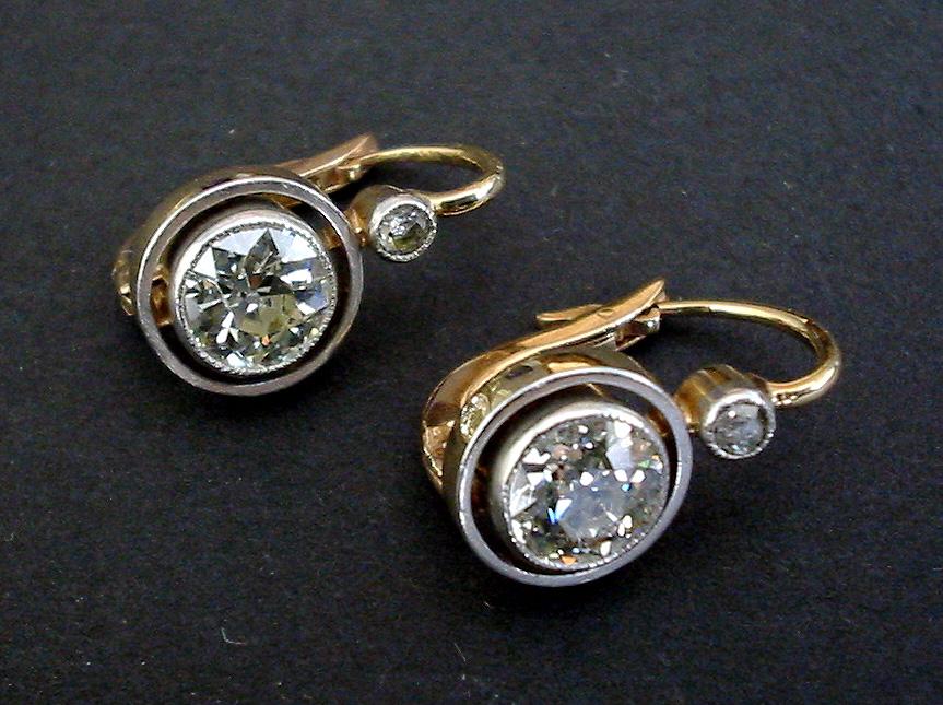 Edwardian Diamond Earrings 1 6ct Brilliants