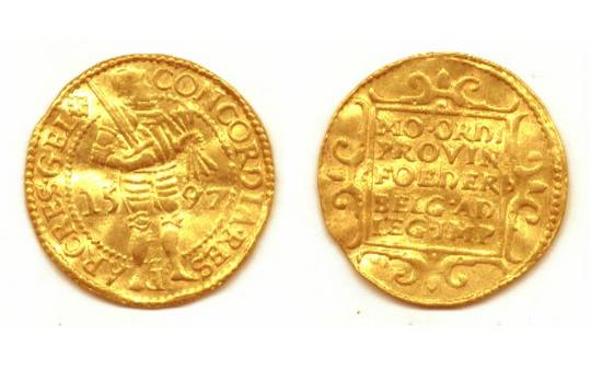 1597 Dutch gold knight ducat coin GELDERLAND