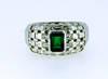 Colombian Emerald Tessellated Diamond Ring