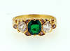 Victorian Colombian Emerald 3 Stone Ring 18K