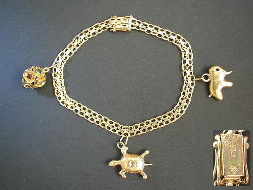 10K YELLOW GOLD LUCKY CHARM BRACELET | OVERSTOCK.COM